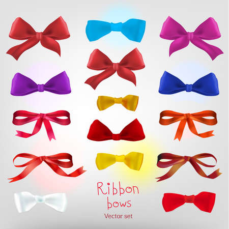 blue bow: Vector designers set with different beautiful ribbon bows. Useful collection for making postcards, wedding invitations, ornaments and other cute and romantic designs.