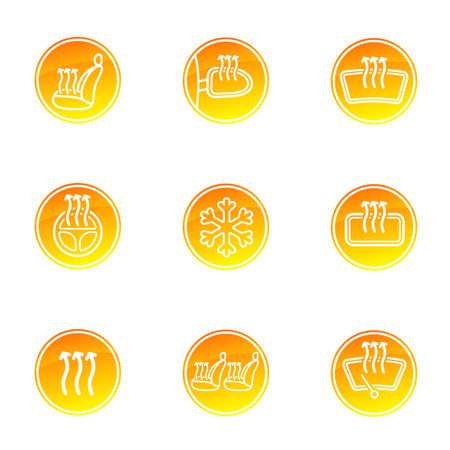 Modern set of car heating system icons in yellow, white and orange colors. Automotive Winter Pack collection. Vector illustration.