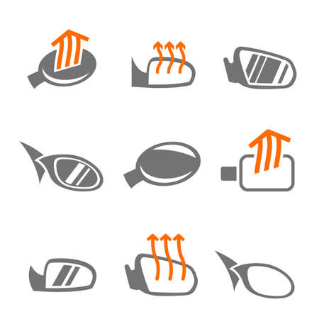 rear view mirror: Modern set of car side mirror icons in grey, white and orange colors. Automotive collection. Vector illustration.