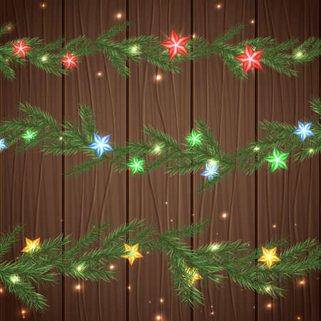 christmas border: Vector illustration of christmas garlands with green, red, blue and yellow stars on a dark wooden background. Beautiful decorative backdrop for New Year postcard, poster, print or invitation. Illustration