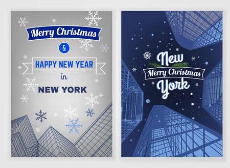 arquitecto: Plantilla de la postal vectorial Año Nuevo. Brillantes antecedentes de Navidad modernas para la impresión del cartel, folleto, libro, folleto, folleto y diseño de folleto. Editable imagen gráfica en colores azul y blanco