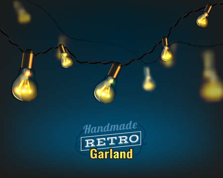 Vector illustration of beautiful background with handmade lighting garland for Patio, Wedding, Party, Christmas Light, Party Lights and Decoration. Useful for postcards, posters, prints, invitations. Vettoriali