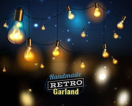 Vector illustration of beautiful background with handmade lighting garland for Patio, Wedding, Party, Christmas Light, Party Lights and Decoration. Useful for postcards, posters, prints, invitations. Ilustração