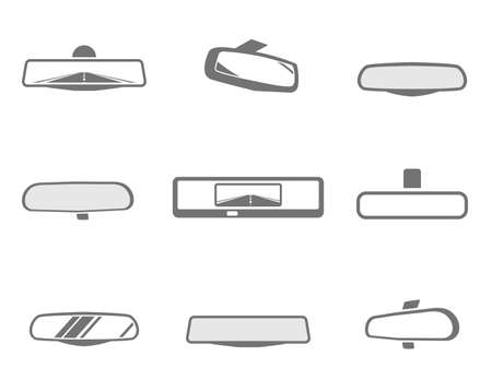 rearview: Modern set of car rear mirror icons in grey and white colors. Automotive collection. Vector illustration.