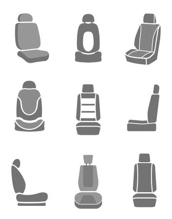 Modern set of car seat icons in grey colors. Editable automotive collection. Vector illustration. Vettoriali