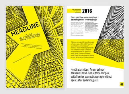 architect office: Vector business brochure template. Bright modern backgrounds for poster, print, flyer, book, booklet, brochure and leaflet design. Editable graphic image in white, black and yellow colors
