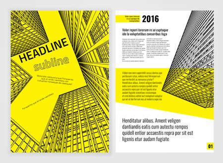 arquitecto: Vector plantilla de folleto negocio. Antecedentes modernos brillantes para la impresión del cartel, folleto, libro, folleto, folleto y diseño de folleto. Editable imagen gráfica en colores blanco, negro y amarillo
