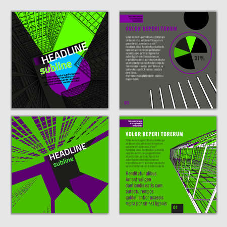 leaflet design: Vector business brochures template. Bright modern backgrounds for poster, print, flyer, book, booklet, brochure and leaflet design. Editable graphic image in grey, black and green colors