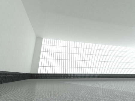 domestic garage: Abstract modern architecture background, empty white open space interior with windows and gray concrete walls, 3D rendering