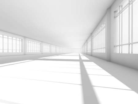 design studio: Abstract modern architecture background, empty white open space interior with windows and gray concrete walls, 3D rendering