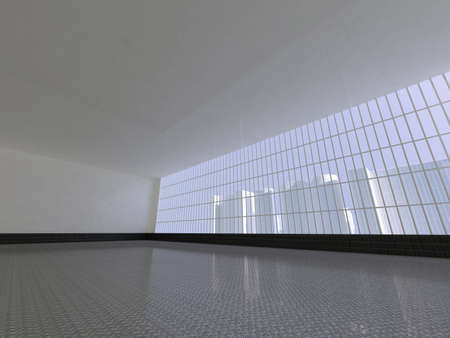 skylight: Abstract modern architecture background, empty white open space interior with windows and gray concrete walls, 3D rendering