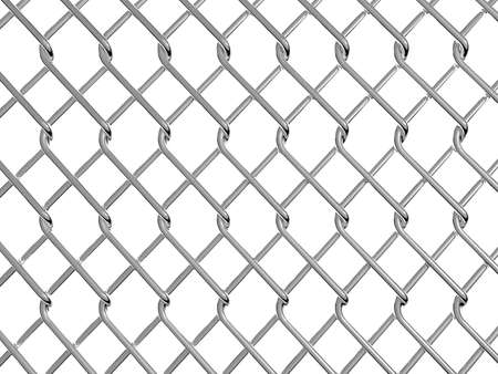 iron fence: chainlink fence on white background 3D rendering