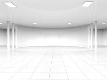 Abstrait architecture moderne, vide intérieur blanc de l'espace ouvert avec des fenêtres et des murs de béton gris, rendu 3D Banque d'images - 45094060
