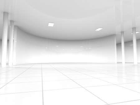 Abstrait architecture moderne, vide intérieur blanc de l'espace ouvert avec des fenêtres et des murs de béton gris, rendu 3D Banque d'images - 45094068