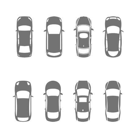 Vector graphic set of top view car abstract silhouettes. Editable illustration. Automotive collection.  イラスト・ベクター素材