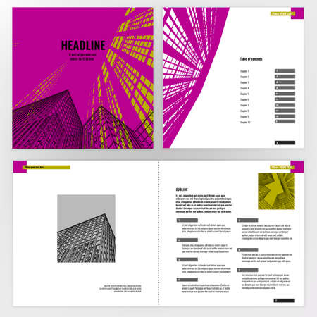 prospect: Vector business brochure template. Bright modern backgrounds for poster, print, flyer, book, booklet, brochure and leaflet design. Editable graphic image in white, black and magenta colors Illustration