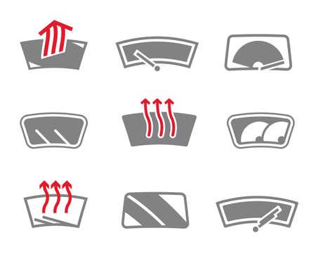 rain window: Vector graphic set of car windows isolated icons. Editable illustration. Automotive collection.