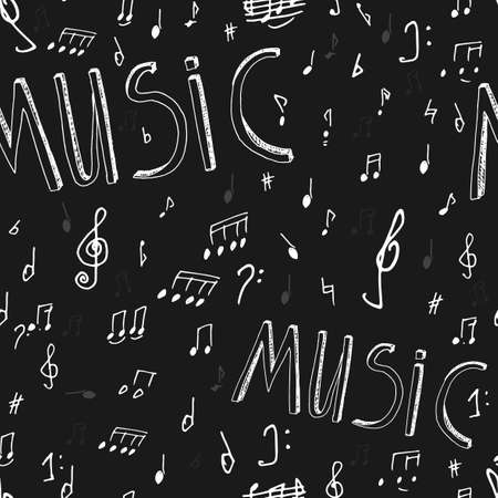 crosscut: The illustration of beautiful black musical background with chalk handwriting. Sol-fa class blackboard. Totally vector fully scalable image with white handwritten text.