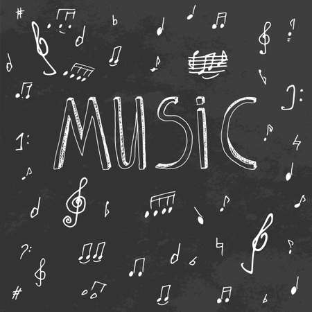 conservatory: The illustration of beautiful black musical background with chalk handwriting. Music class blackboard. Totally vector fully scalable image with white handwritten text. Illustration