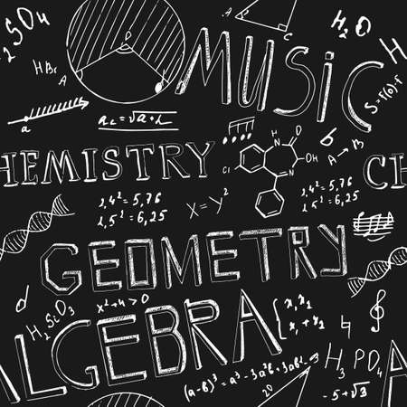 The illustration of beautiful black scientific background with chalk handwriting. Shcool class blackboard. Totally vector fully scalable image with white handwritten text. Illustration