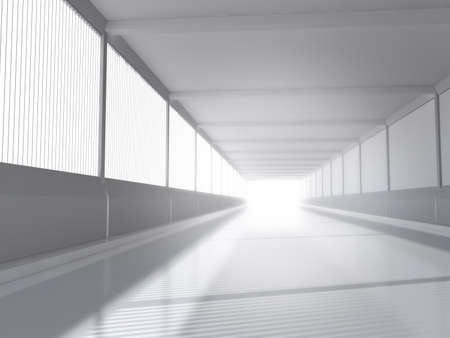 converging: abstract architecture white interior with road 3D rendering Stock Photo