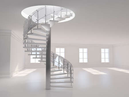 stairs interior: A 3d illustration of a spiral stair 3D rendering