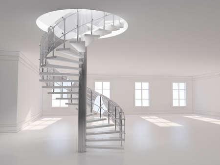 escalera: Una ilustración 3d de una representación 3D de la escalera de caracol Foto de archivo