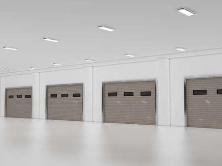 shutter door: Industrial unit with roller shutter door 3D rendering