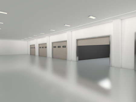 Industrial unit with roller shutter door 3D rendering