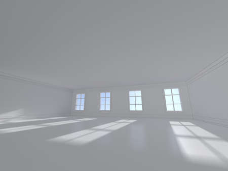 white window: High resolution white room with window 3D rendering Stock Photo