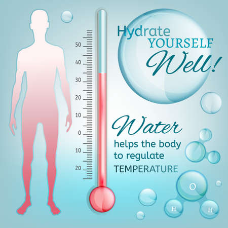 water molecule: Hydrate yourself well. Vector illustration of bio infographics with human body temperature regulation scheme in transparent style. Medicine and biochemistry concept. Keep your body healthy