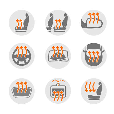 windshield wiper: Vector graphic set of car heating pack isolated icons. Editable illustration. Automotive collection in grey and orange colors. Illustration