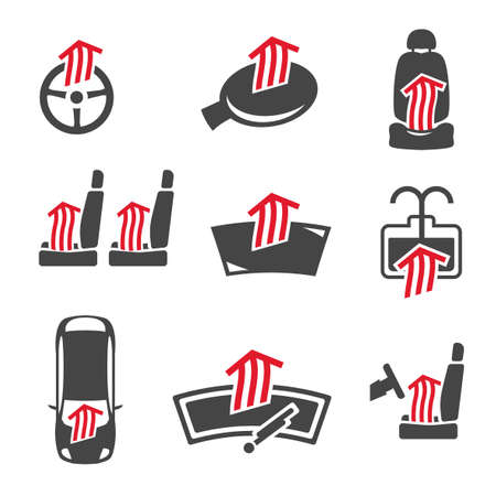 windshield wiper: Vector graphic set of car heating pack isolated icons. Editable illustration. Automotive collection in dark grey and red colors. Illustration