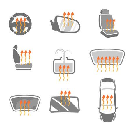 asiento coche: Gr�fico de vector conjunto de iconos de carga de calefacci�n del coche aislados. Ilustraci�n editable. Colecci�n Automotive en colores gris y naranja. Vectores