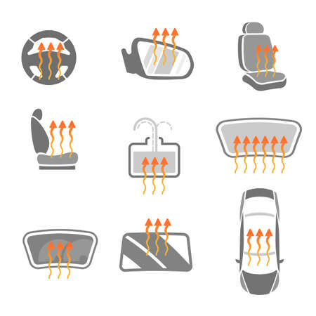 Vector graphic set of car heating pack isolated icons. Editable illustration. Automotive collection in grey and orange colors. 向量圖像