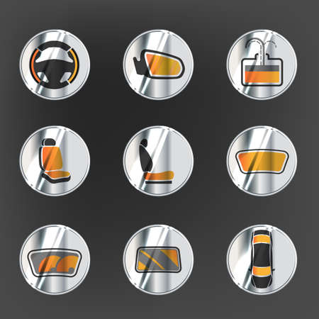Vector graphic set of car heating pack isolated icons. Editable illustration. Metallic automotive collection in grey and orange colors. Silver buttons style. Illustration