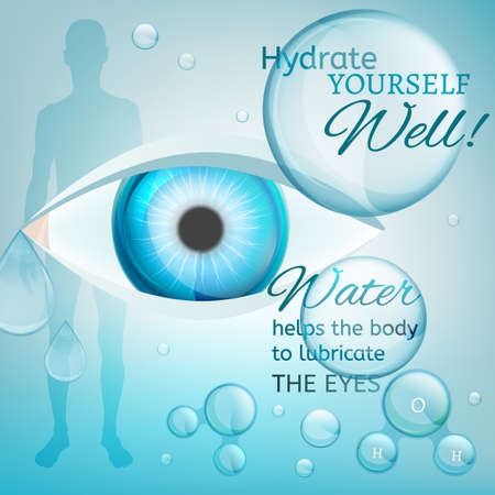 keep an eye on: Water is the driving force of all nature. Vector illustration of bio infographics with human eye in transparent style. Medicine and biochemistry concept. Keep your body healthy