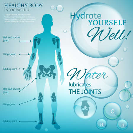 hinge joint: Water is the driving force of all nature. Vector illustration of bio infographics with human body scheme in transparent style. Medicine and biochemistry concept. Keep your joints healthy