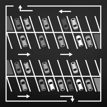 symbol traffic: Vector graphic illustration of a top view car abstract parking lot scheme. Editable automotive collection in a flat simple style. Illustration