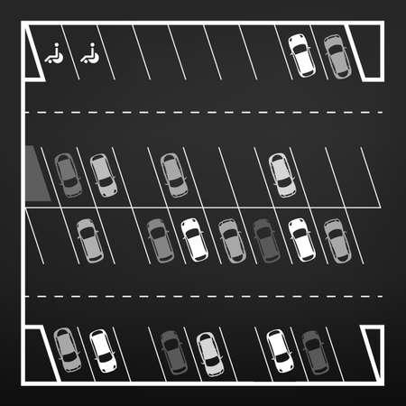 Vector grafische illustratie van een bovenaanzicht auto abstracte parkeerplaats regeling. Bewerkbare automotive collectie in een vlakke eenvoudige stijl. Stock Illustratie