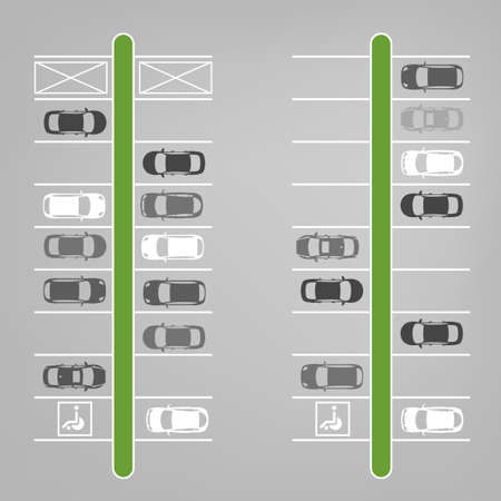 Vector graphic illustration of a top view car abstract parking lot scheme. Editable automotive collection in a flat simple style. Vettoriali