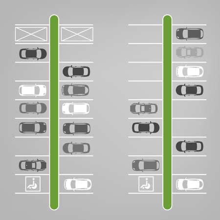 Vector illustration graphique d'un parking abstraite beaucoup régime vue de dessus en voiture. Collection automobile modifiable dans un style simple plat. Banque d'images - 46358878
