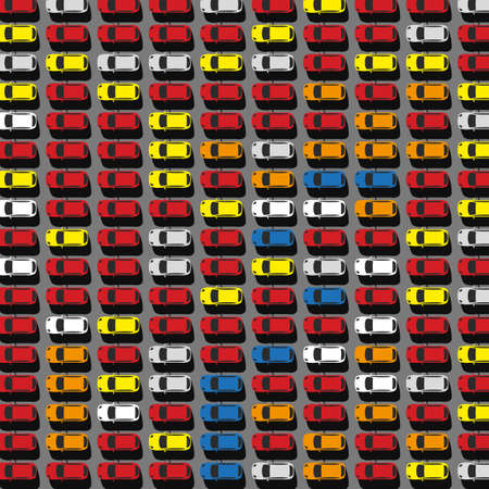 speed car: Vector graphic illustration of a top view car abstract parking with lots of multicolored cars. Editable automotive collection in a flat simple style. Illustration