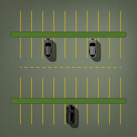 Graphic illustration of a top view car abstract parking lot scheme