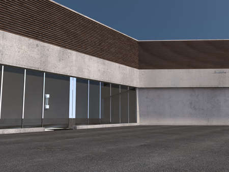 glass office: empty Business building with big glass windows 3D rendering Stock Photo