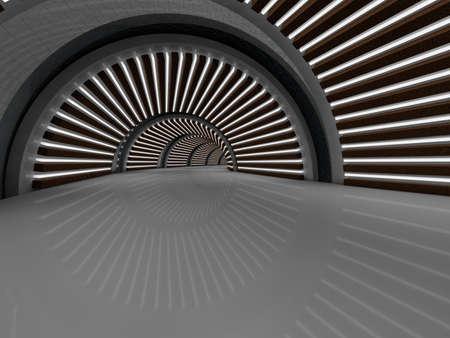 illuminated: illustration Modern illuminated long corridor 3D rendering