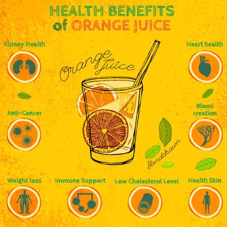 Illustration von einem Glas Orangensaft auf einem strukturierten Hintergrund Vektorgrafik