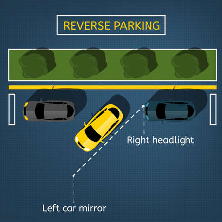 Graphic illustration of a top view car reverse parking scheme Stock Illustratie