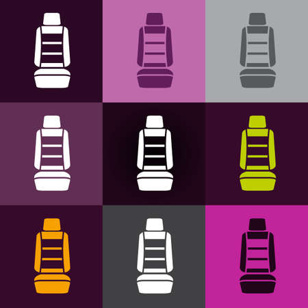 si�ge voiture: Modern set of car seat icons in different colors Illustration