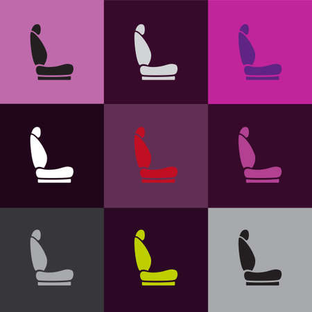car front: Modern set of car seat icons in different colors Illustration